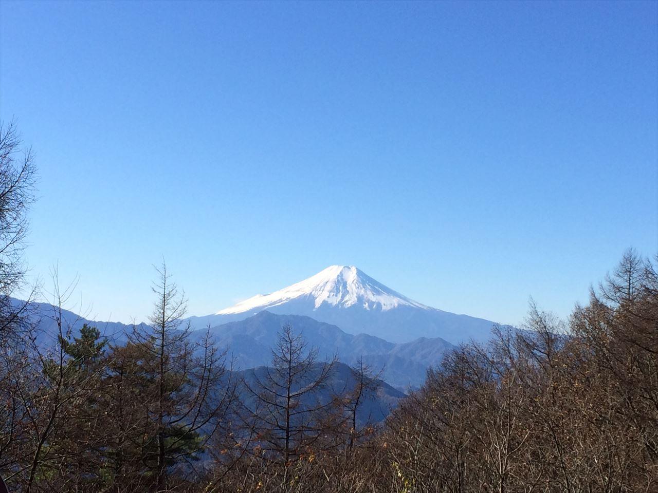 扇山〜百蔵山 登山 霜秋の秀麗富嶽十二景6番、7番山頂(2015.11.28)