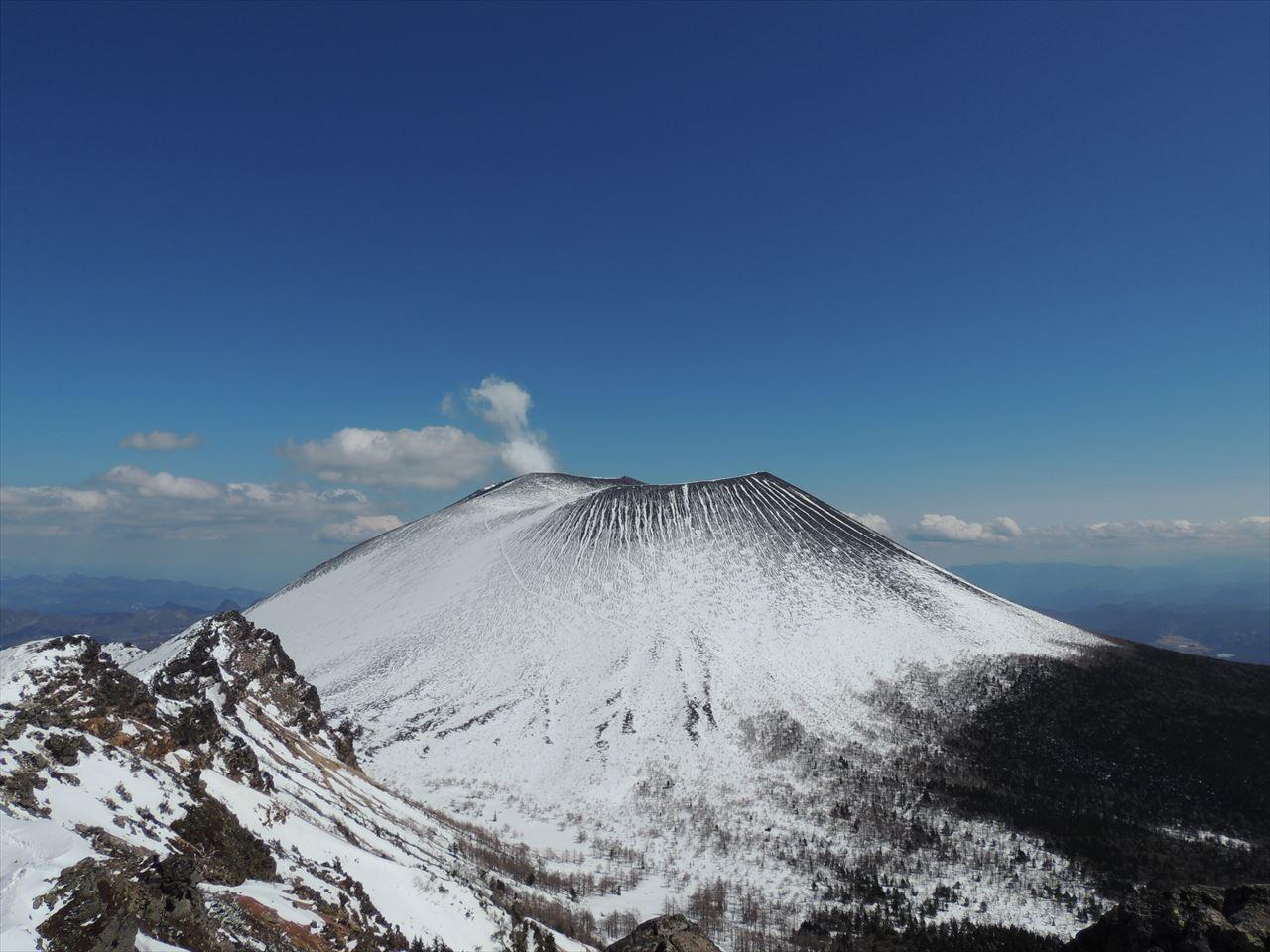 黒斑山~蛇骨岳 雪山登山 残雪の浅間山(2016.3.26)